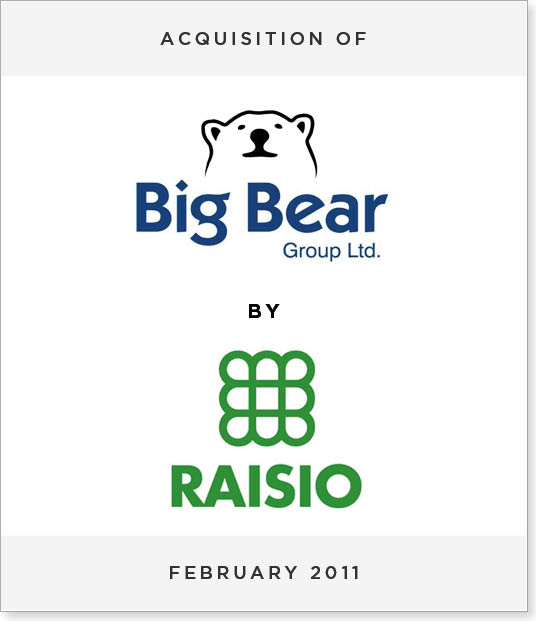 TombstoneV247 Acquisition of Big Bear Group PLC by Raisio PLC
