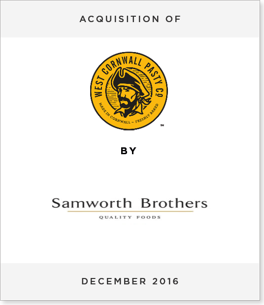 TombstoneV2 Acquisition of West Cornwall Pasty Co. by Samworth Brothers