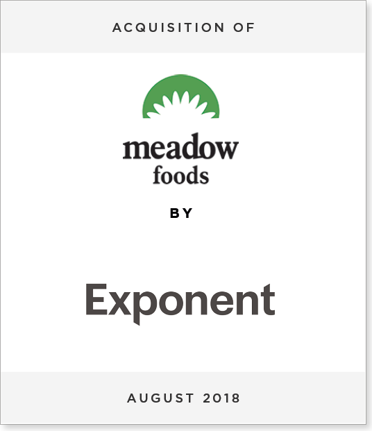 TombstoneV3-4 Acquisition of Meadow foods by Exponent Private Equity