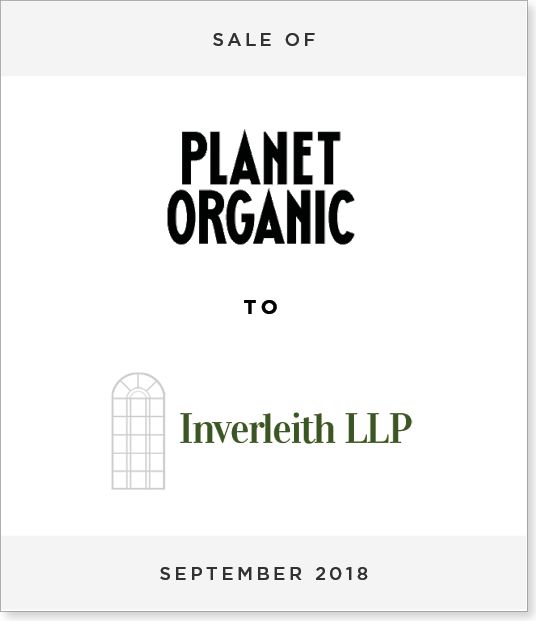 TombstoneV3 Disposal of Majority Stake in Planet Organic to Inverleith LLP