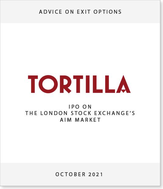 TORT-1 Spayne Lindsay advises Tortilla on exit options